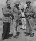 (L to R) Col. Johnny Alison, British Gen. Orde Wingate, and Col. Phil Cochran. Alison and Cochran were sent by U.S. Gen. Henry 'Hap' Arnold to support Wingate and his Chindits against the Japanese. (Historical photo)