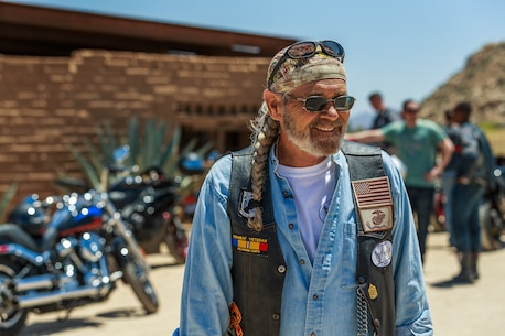 Bill Smith, Marine Corps Air Ground Combat Center's drug demand reductionist, gets participants of the 4th Annual Ride for Freedom, Freedom to Ride (Sober) Motorcycle Ride ready to return to the Combat Center after having lunch at Pappy and Harriet's in Pioneer Town, Calif., May 18, 2018. The event is geared toward promoting safe and sober riding. (U.S. Marine Corps photo by Lance Cpl. Rachel K. Porter)