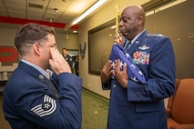A retirement ceremony was held for U.S. Air Force Lt. Col. Corey Brown at Joint Base McGuire-Dix-Lakehurst, N.J., May 19, 2018. During his 30-year career, he served as KC-135R Stratotanker boom operator before earning his commission and becoming a KC-10 Extender pilot. He joined the 514th Air Mobility Wing, Air Force Reserve Command, in 2015. (U.S. Air Force photo by Master Sgt. Mark C. Olsen)