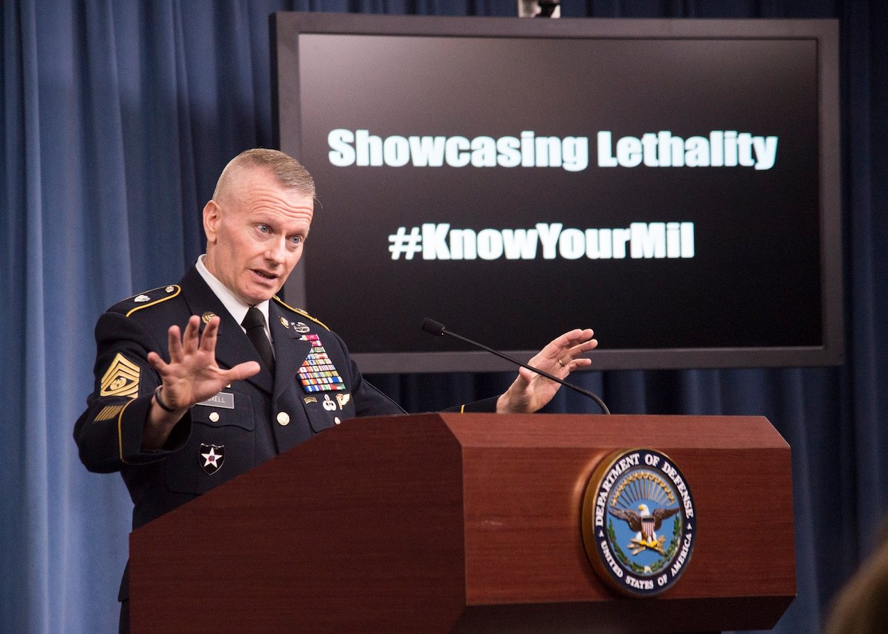 Military's top enlisted member briefs reporters.