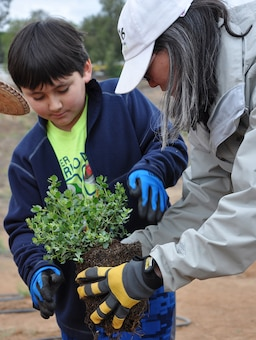 Eileen Takata, landscape architect, lead water resources planner and public involvement specialist with the LA District's Planning Division, right, and her son, Seth, left, prepare a native plant during a community tree-planting event May 12 in Norco.