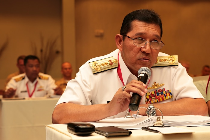 Malaysian Navy Rear Adm. Khairul Anuar Yahya, assistant chief of staff for operations and exercise, Naval Headquarters, asks a question during the Pacific Amphibious Leaders Symposium (PALS) in Honolulu, Hawaii, May 21-24, 2018.