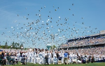 Newly promoted U.S. Marine Corps 2nd Lieutenants and U.S. Navy Ensigns of U.S. Naval Academy Class of 2018 throw their covers in the air during their graduation and commissioning ceremony, Annapolis, Md., May 25, 2018. The Class of 2018 graduated 1,042 midshipmen and were addressed by the Honorable Donald J. Trump, 45th President of the United States.