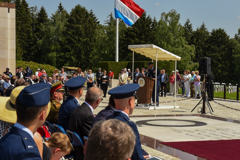 U.S. Air Force Lt. Gen. Richard Clark, 3rd Air Force commander, delivers a speech during the Memorial Day Ceremony at Luxembourg American Military Cemetery in Hamm, Luxembourg, May 26, 2018. The holiday serves as an opportunity to pause and remember the sacrifices of more than one million Soldiers, Sailors, Airmen, Marines and Coast Guardsmen who gave their lives in defense of freedom. (U.S. Air Force photo by Senior Airman Dawn M. Weber)