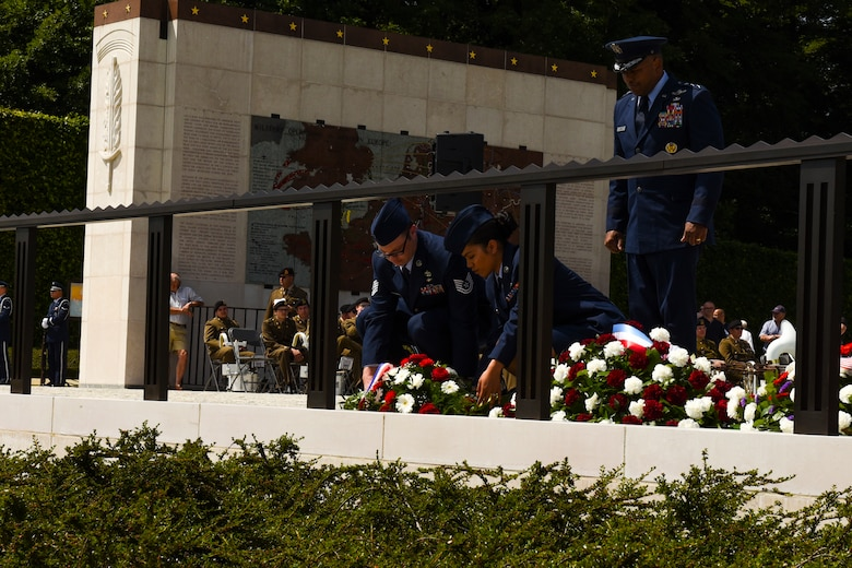U.S. Air Force Lt. Gen. Richard Clark, 3rd Air Force commander, presents a remembrance wreath on behalf of United States Air Forces in Europe during the Memorial Day Ceremony at Luxembourg American Military Cemetery in Hamm, Luxembourg, May 26, 2018. Memorial Day is observed on the last Monday of May in remembrance of those who gave the ultimate sacrifice and is said to have originated after the American Civil War. (U.S. Air Force photo by Senior Airman Dawn M. Weber)