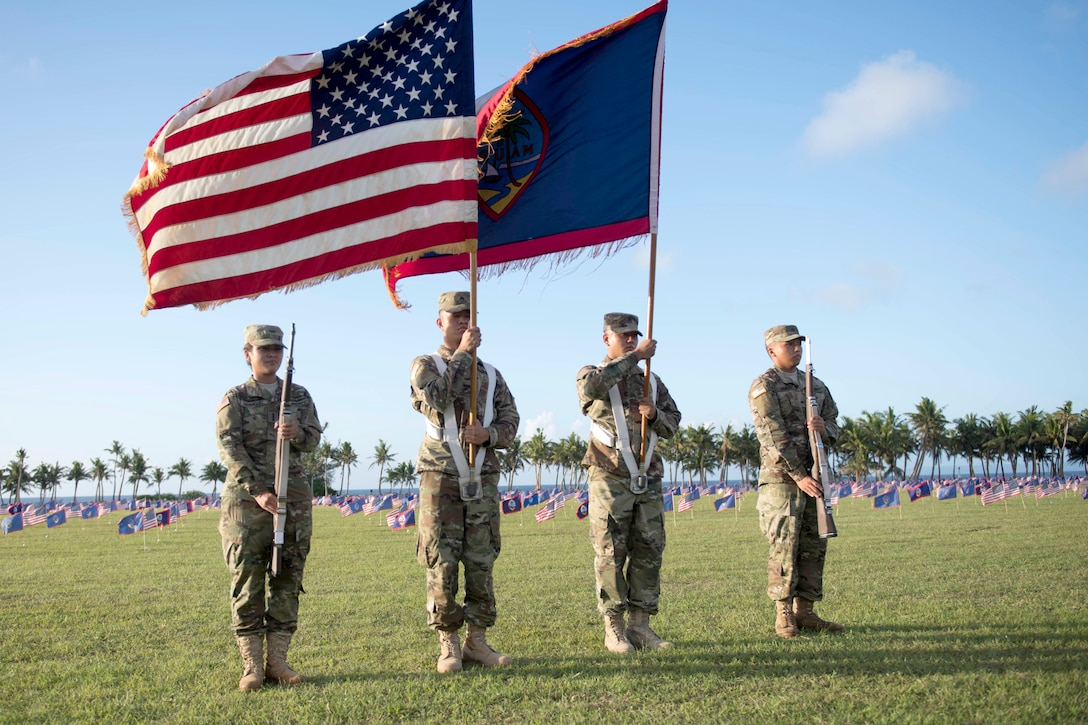 Service members hold flags with rows of small American flags in the ground.