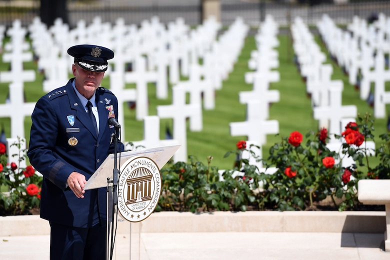 Gen. Wolters gives remarks during a ceremony at Suresnes American Cemetery