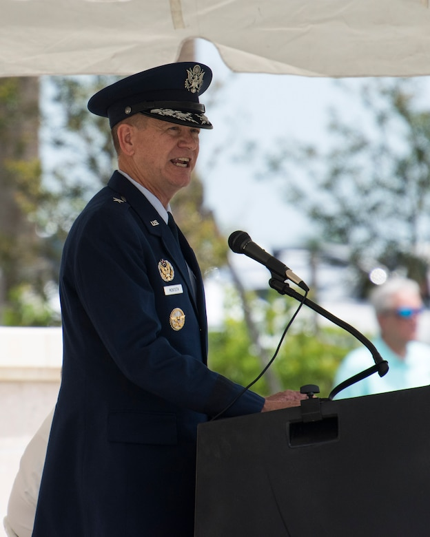 Brig. Gen. Wayne Monteith, Commander of the 45th Space Wing, gives a speech May 28th, 2018, at Cape Canaveral National Cemetery, Fla. Brig. Gen. Monteith was the keynote speaker of the ceremony and this was his second time speaking at the event.
