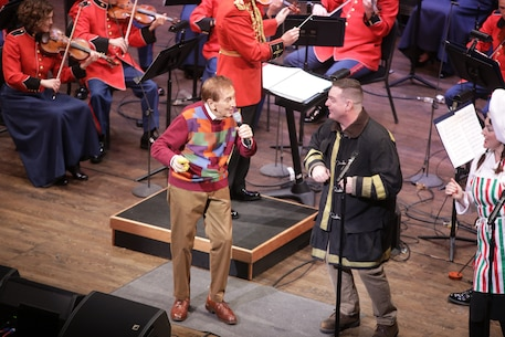 On April 15, 2018, the Marine Chamber Orchestra presented a Young People's Concert with guest Bob McGrath from Sesame Street at the Rachel M. Schlesinger Concert Hall and Arts Center in Alexandria, Va.  (U.S. Marine Corps photo by Master Sgt. Amanda Simmons/released)