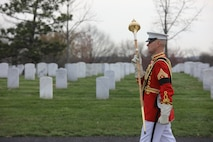 On April 12, 2018, the Marine Band partcipated in the funeral for Lt. Col. Erik Larsen, USMC (ret.), at Arlington National Cemetery. (U.S. Marine Corps photo by Master Amanda Simmons/released)