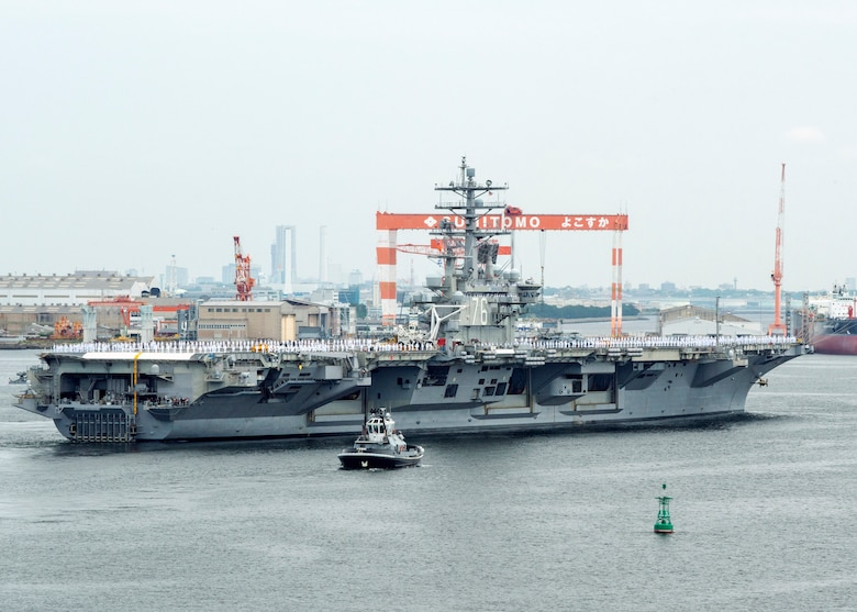 YOKOSUKA, Japan (May 29, 2018) -- USS Ronald Reagan (CVN 76) departs U.S. Fleet Activities (FLEACT) Yokosuka, May 29. FLEACT Yokosuka provides, maintains, and operates base facilities and services in support of the 7th Fleet's forward-deployed naval forces, 71 tenant commands, and more than 27,000 military and civilian personnel.