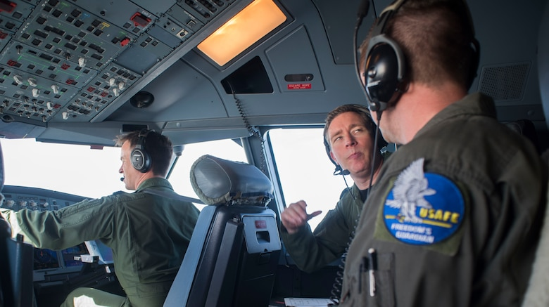 Royal Air Force Flight Lt. Jace Orr, left, and Wing Commander Pete Thorbjornsen fly the RAF Voyager over the North Sea during the European Tanker Symposium, May 17, 2018. The symposium is an annual event where NATO allies and partner nations with an interest in air refueling capabilities gather to discuss tanker formation flights. (U.S. Air Force photo by Airman 1st Class Alexandria Lee)