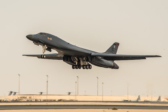 A 34th Expeditionary Bomb Squadron B-1B Lancer aircraft departs from Al Udeid Air Base, Qatar, May 19, 2018. The reputable B-1 returned to the area of operations in April to combat Taliban and other terrorist groups after two years of supporting the United States Pacific Command's AOR. (U.S. Air Force photo by Staff Sgt. Joshua Horton)