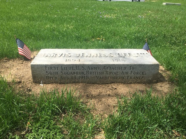 The gravestone of U.S. Army 1st Lt. Jarvis Offutt surrounded by dirt from the process of raising the stone May 1, 2018, at Forrest Lawn Memorial Park, Nebraska.