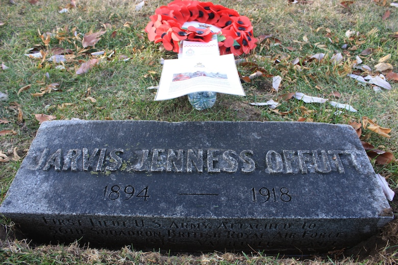 The grave of U.S. Army 1st Lt. Jarvis Offutt with a wreath presented by Royal Air Force 56 Squadron Dec. 18, 2017, at Forrest Lawn Memorial Park, Nebraska.