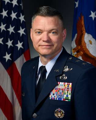 Official portrait -  Maj Gen John Rauch taken in the Air Force portrait studio, May 7, 2018, Pentagon. (U.S. Air Force photo by Wayne A. Clark)