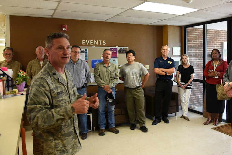 U.S. Air Force Lt. Col. Robert Borger, 17th Training Wing chaplain, speaks during Clergy Day at the Crossroads Student Ministry center on Goodfellow Air Force Base, Texas, May 24, 2018. Borger let local pastors know how they are needed to be able to provided spiritual support to Goodfellow service members. (U.S. Air Force photo by Staff Sgt. Joshua Edwards/Released)