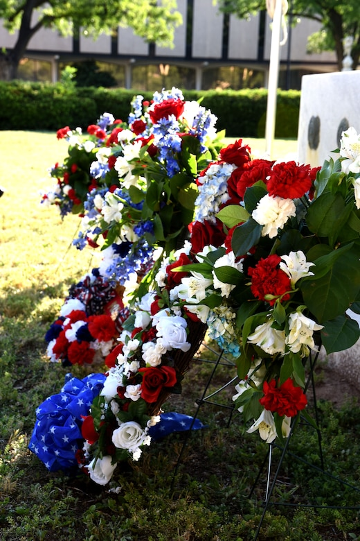 Wreaths in front of the Tom Green County Courthouse Memorial in San Angelo, Texas, at the All Veterans Council of Tom Green County Memorial Day Commemoration May 24, 2018. Members of various veteran associations from the community placed the wreaths as a symbol of remembrance and honor to those who sacrificed their lives in service to the country. (U.S. Air Force photo by Airman 1st Class Seraiah Hines/Released)