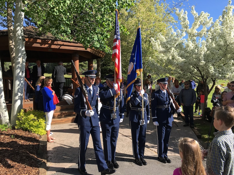 The Hill Air Force Base Honor Guard presents the colors during a tribute May 28, 2018, at Park City, Utah, to honor the Airmen involved in a B-18 bomber crash that occurred in 1941. Two of the seven crew members lost their lives in the accident at Iron Mountain near Park City. (Courtesy photo)