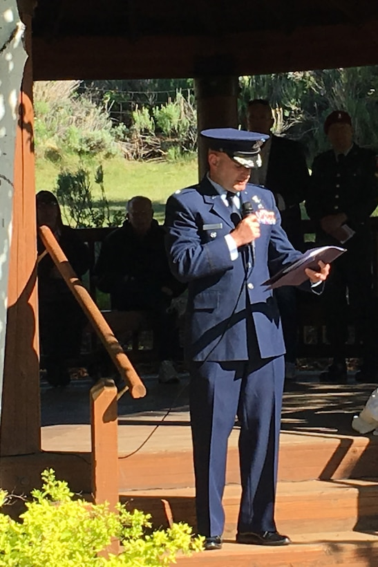 Col. Dave Dunklee, 75th Air Base Wing vice commander, provides remarks during a tribute May 28, 2018, at Park City, Utah, to honor the Airmen involved in a B-18 bomber crash that occurred in 1941. Two of the seven crew members lost their lives in the accident at Iron Mountain near Park City. (Courtesy photo)