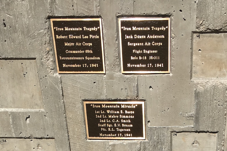 Plaques are on display at a tribute May 28, 2018, to honor the Airmen involved in a B-18 bomber crash that occurred in 1941. Two of the seven crew members lost their lives in the accident at Iron Mountain near Park City. (Courtesy photo)