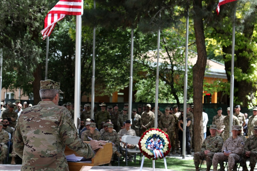KABUL, Afghanistan (May 28, 2018) -- Gen. John Nicholson, Resolute Support and U.S. Forces-Afghanistan commander, speaks during a Memorial Day ceremony at Resolute Support headquarters, May 28, 2018. (Resolute Support photo by Erickson Barnes)
