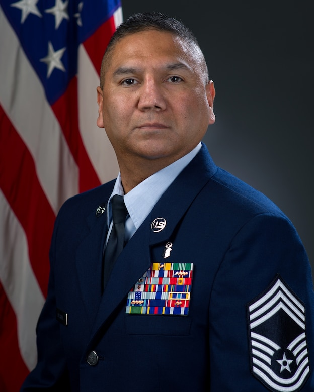 Chief Master Sgt. Marcos Malacara, 60th Medical Diagnostics and Therapeutics Squadron, poses for an official photo. Malacara believes it's vital Airmen are treated with dignity and respect. (Courtesy Photo)