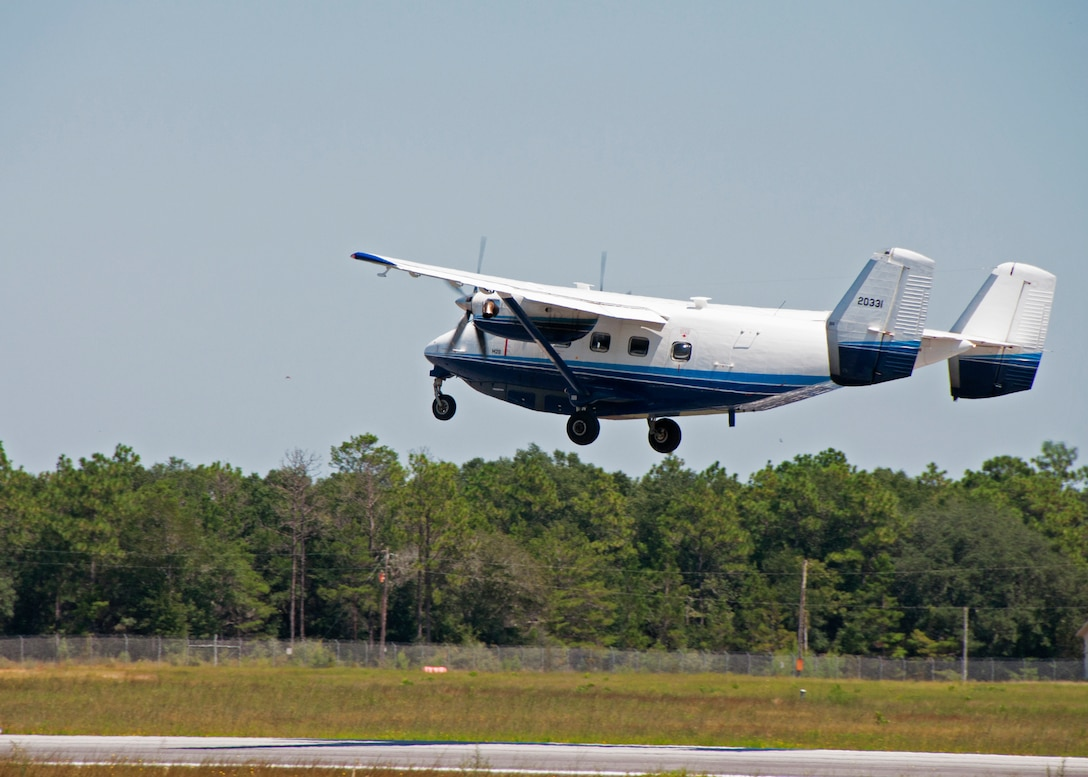 A C-145 Skytruck lifts off from the runway at Duke Field, Fla., on an airdrop training sortie recently.
