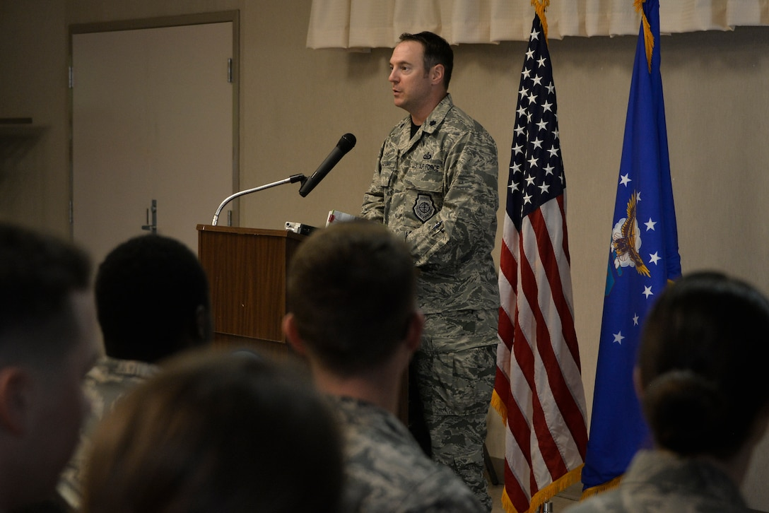 Lt. Col. Robert Vidoloff, 29th Intelligence Squadron commander, opens up the 29th IS Heritage Day ceremony with information on the squadron's history May 18, 2018, in Laurel, Maryland. (U.S. Air Force photo by Staff Sgt. Alexandre Montes)