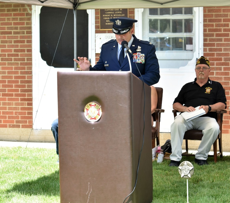 655th Intelligence, Surveillance and Reconnaissance Group Commander John D. McKaye delivers the keynote speech at a Memorial Day observance ceremony at Evergreen Cemetery, West Carrollton, Ohio, May 27, 2018.