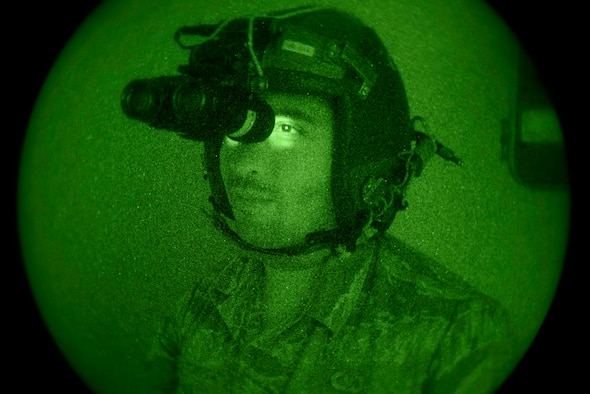 Airman Mark Rocha, 436th Operations Support Squadron aircrew flight equipment apprentice, performs a preflight inspection of night vision goggles May 23, 2018, at Dover Air Force Base, Del. AFE technicians perform routine inspections, repair and test NVGs and other flight equipment. (U.S Air Force photo by Airman 1st Class Zoe M. Wockenfuss)