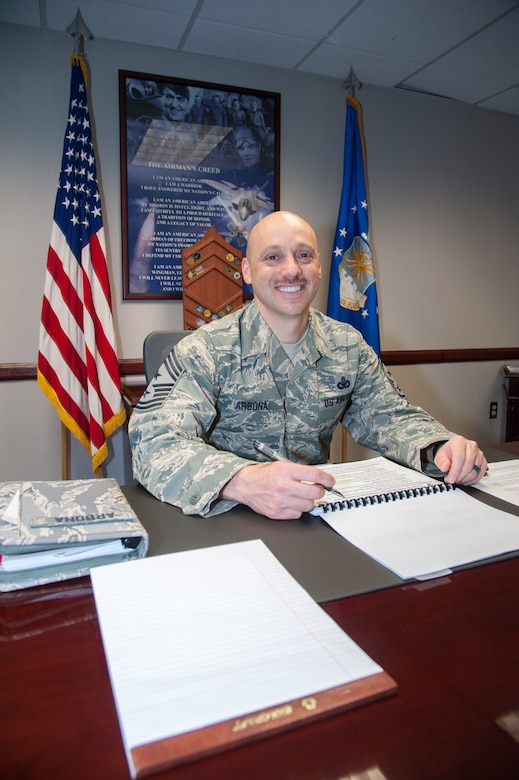 Chief Master Sgt. Stephen A. Arbona serves as the command chief master sergeant for the Air Force Materiel Command's 88th Air Base Wing, Wright-Patterson Air Force Base, Ohio. His first day on the job was May 16. (U.S. Air Force photo/John Harrington)