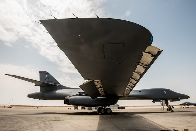 A 34th Expeditionary Bomb Squadron B-1B Lancer is prepared for departure at Al Udeid Air Base, Qatar, May 19, 2018. The B-1 returned to the area of operations in April to combat Taliban and other terrorist groups after two years of supporting the United States Pacific Command's AOR. (U.S. Air Force photo by Staff Sgt. Joshua Horton)