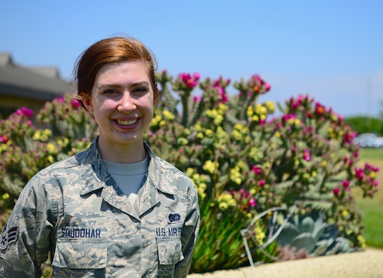 Senior Airman Jade Staudohar, 9th Comptroller Squadron commander support staff poses for a photo