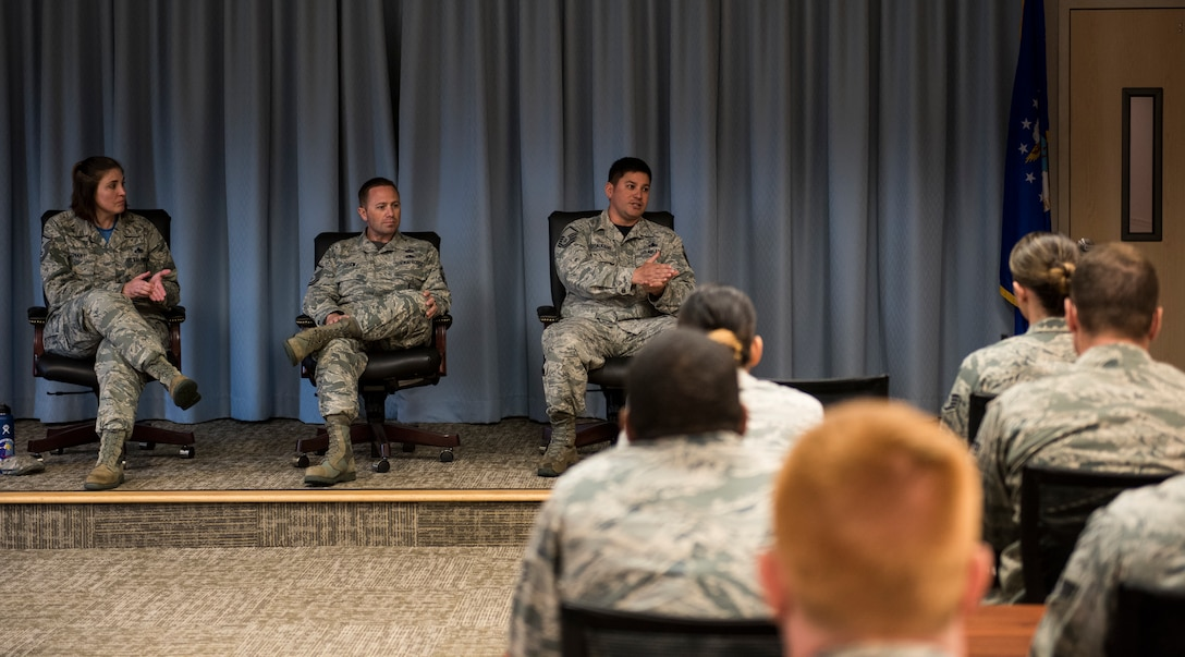 A panel of Team Fairchild first sergeant's talks to an Airman Leadership School class about supervision and the role of the first sergeant, at Fairchild Air Force Base, Washington, May 18, 2018. Throughout their training, first sergeants gain knowledge on a vast amount of resources for Airmen and their families. This training allows them to support Airmen with their life stressors and set them up with additional help if it is needed. (U.S. Air Force photo/Senior Airman Sean Campbell)