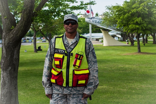 U.S. Air Force Master Sgt. Keith Wright, the 35th Fighter Wing flight safety NCO, poses for a photo at Misawa Air Base, Japan, May 23, 2018. This year marks 75 years of safety identifying flight risks, evaluating flight line supervision and examining flight operations. (U.S. Air Force photo by Airman 1st Class Collette Brooks)