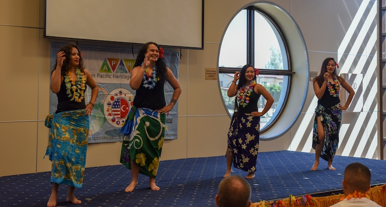"""Airmen from the Asian Pacific Heritage Association perform a Tahitian dance during the """"Taste of Asia and Pacific"""" event"""