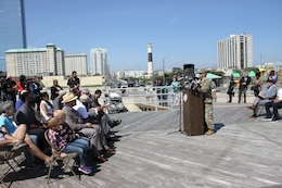 USACE Philadelphia District Deputy Commander MAJ Brian Corbin made remarks during a ribboncutting ceremony for the Absecon Inlet seawall and boardwalk rebuild on May 25, 2018 in Atlantic City.