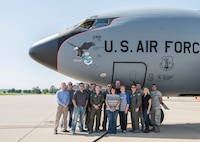 """The 126th Air Refueling Wing, 906th Air Refueling Squadron and the 375th Air Mobility Wing hosted a KC-135 Stratotanker orientation flight with Scott Air Force Base's honorary commanders May 22, 2018, at Scott AFB, Illinois. They were able to witness an aerial refueling and a tour of the St. Louis Arch by a total force crew. """"[It was] great to demonstrate our capabilities to those from the local community who partner with us and support our families,"""" said Lt. Col. Christopher Schlachter Sr., 906th ARS commander. (U.S. Air Force photo by Senior Airman Melissa Estevez)"""
