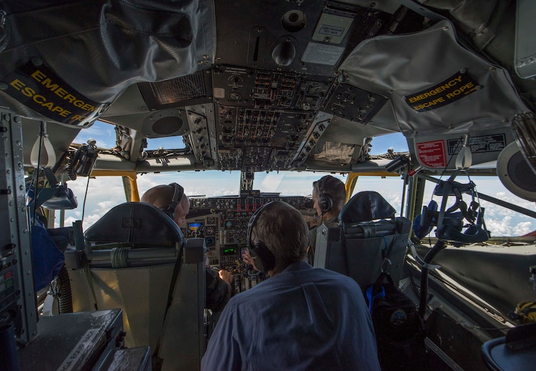 "The 126th Air Refueling Wing, 906th Air Refueling Squadron and the 375th Air Mobility Wing hosted a KC-135 Stratotanker orientation flight with Scott Air Force Base's honorary commanders May 22, 2018, at Scott AFB, Illinois. They were able to witness an aerial refueling and a tour of the St. Louis Arch by a total force crew. ""[It was] great to demonstrate our capabilities to those from the local community who partner with us and support our families,"" said Lt. Col. Christopher Schlachter Sr., 906th ARS commander. (U.S. Air Force photo by Senior Airman Melissa Estevez)"