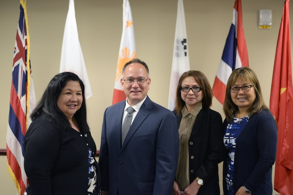 Defense Contract Management Agency team members Sandi Bennett, the Mission Support Office chief; Erik Imajo, a Human Capital Business Skills and Leader Development team lead; Daisy Garcia, a Financial and Business Operations budget analyst; and Kaylee Gouldie, a Contracts Directorate contract specialist, joined headquarters employees in celebrating Asian American and Pacific Islander Heritage Month at Fort Lee, Virginia, May 22. (DCMA photo by Stephen Hickok)