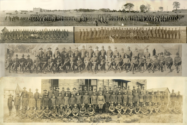 Vermont National Guard historical photos from the years 1909 - 1922 pieced together to form a photo illustration. The photos are early group photos that illustrate the history of the Vermont National Guard.