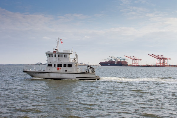 The survey vessel Ewell, a 61 foot catamaran outfitted with the latest multibeam SONAR technology and a crane capable of lifting 4,500 pounds, will serve as a dual-purpose vessel for the district, performing both as a survey vessel and marine debris removal vessel.