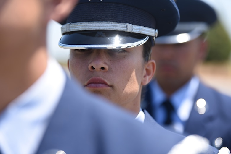 U.S. Air Force Staff Sgt. Myrriah I. Covarrubias, Travis Air Force Base Honor Guard instructor assistant, performs ceremonial movements May 22, 2018 at the Sacramento Valley National Cemetery, Calif. Travis' Honor Guard covers 45,000 sq. miles to include four National Commentaries, two VA's and every private resting area between. (U.S. Air Force photo by Airman 1st Class Jonathon D. A. Carnell)
