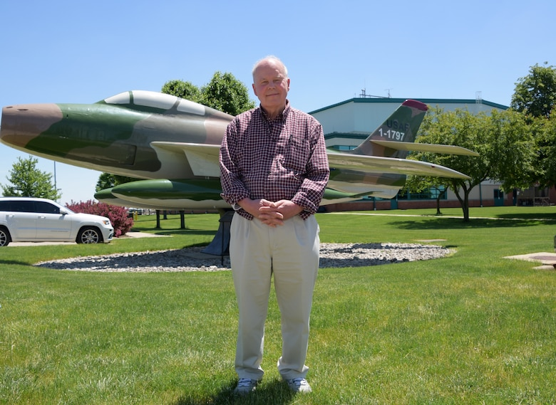 "Joseph Frederick, a retired U.S. Air Force captain with the 178th Wing, returned to the Springfield Air National Guard Base, May 23, and reflected on his time as a pilot in the Ohio Air National Guard. The F-84F ""Thunderstreak"" aircraft that Frederick flew was turned into a static display, and he was able to visit the display upon his return to the 178th Wing."