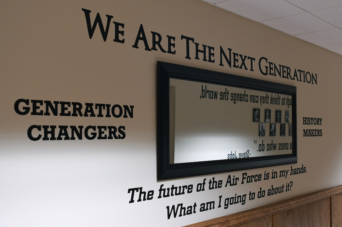 Quotes are displayed in the Personnel Apprentice Course hallway in Wolfe Hall at Keesler Air Force Base, Mississippi, May 24, 2018. The hallway underwent a five-month renovation, which was envisioned by U.S. Air Force Master Sgt. Glenn Davis, previous PAC instructor, to inspire PAC students that walk through the hall. (U.S. Air Force photo by Airman 1st Class Suzie Plotnikov)