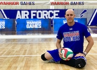 U.S. Air Force Special Agent Bill Lickman, Air Force Office of Special Investigations (AFOSI), sits on the court during sitting volleyball practice May 29, 2018, at the U.S. Air Force Academy, Colorado Springs, Colo.