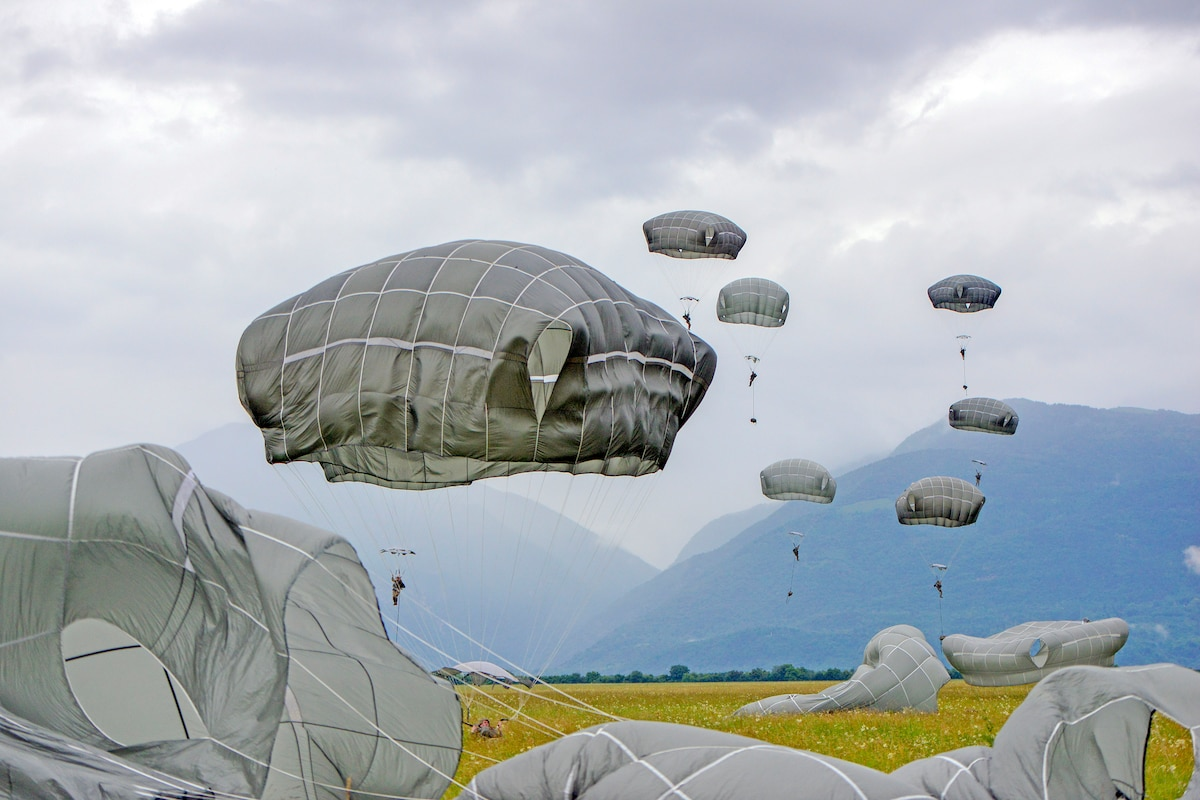 Parachutists descend to green grass, with mountains in the background.