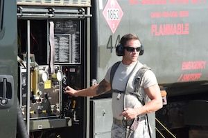 U.S. Air Force Staff Sgt. Brandon Tinges, 144th Logistics Readiness Squadron fuels specialist, refuels an F-15C Eagle fighter jet during Sentry Aloha 18-01 Jan. 9, 2018 at Joint Base Pearl Harbor-Hickam, Hawaii.
