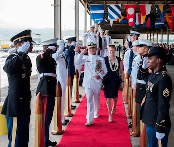 Adm. Harris Piped Ashore for the Last Time